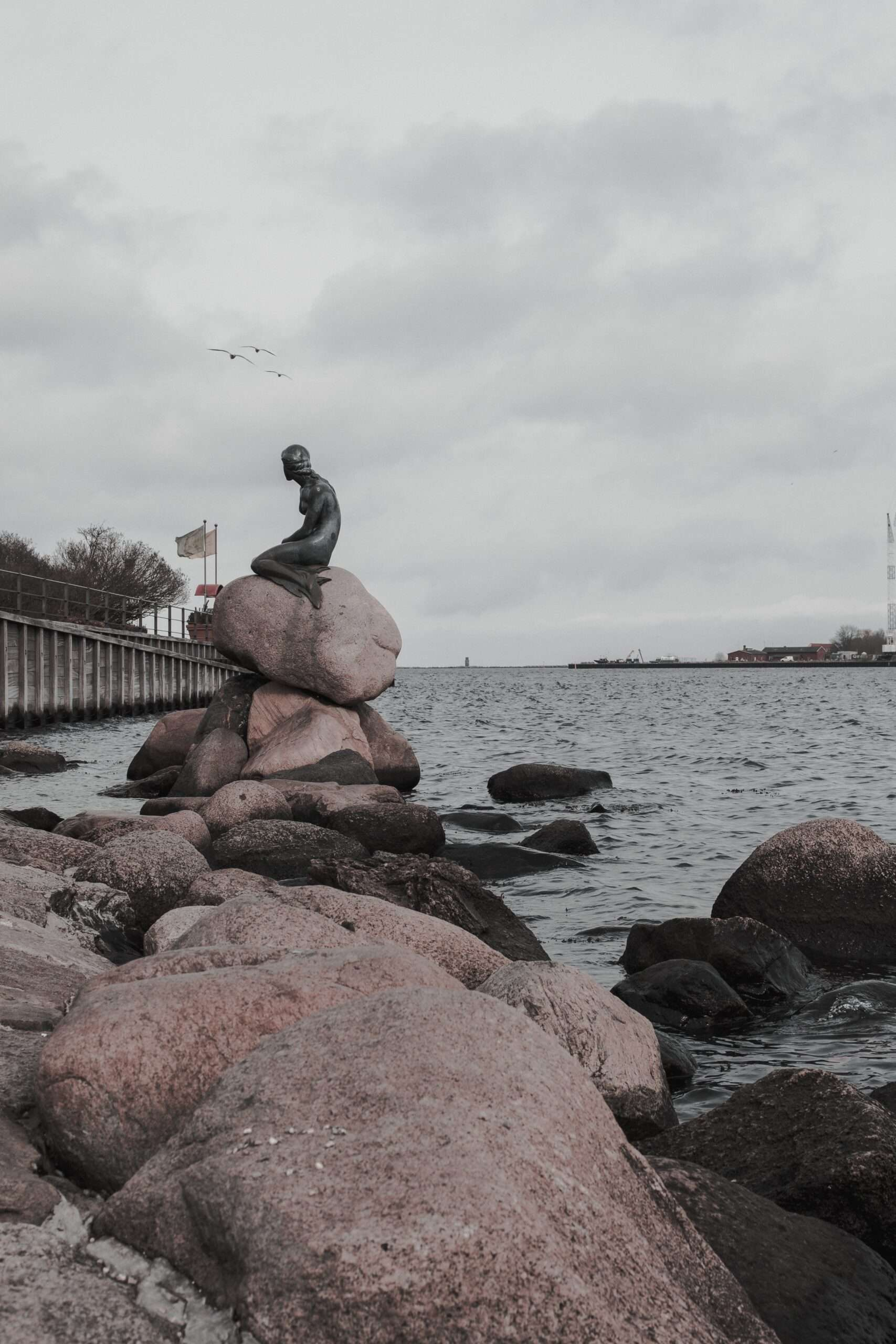 The Little Mermaid Statue on the waterfront in Copenhagen