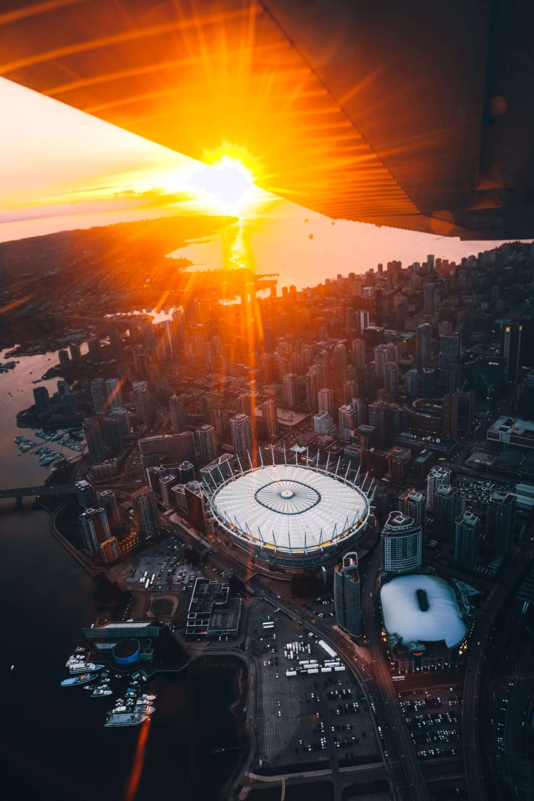 arial view of vancouver from a sea plane