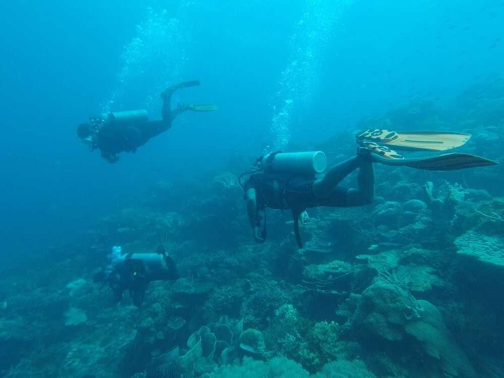 wo Scuba divers in El Nido, Philippines