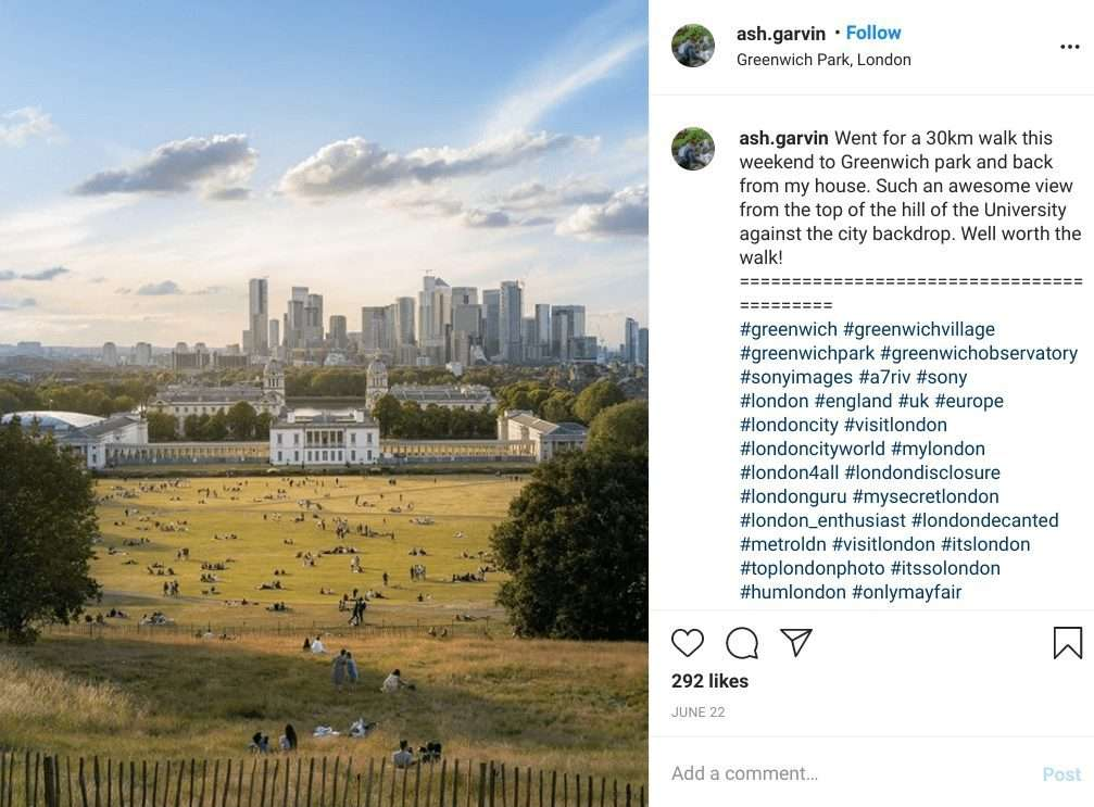 On a hillside in Greenwich Park overlooking the London skyline. One of the most instagrammable places in London