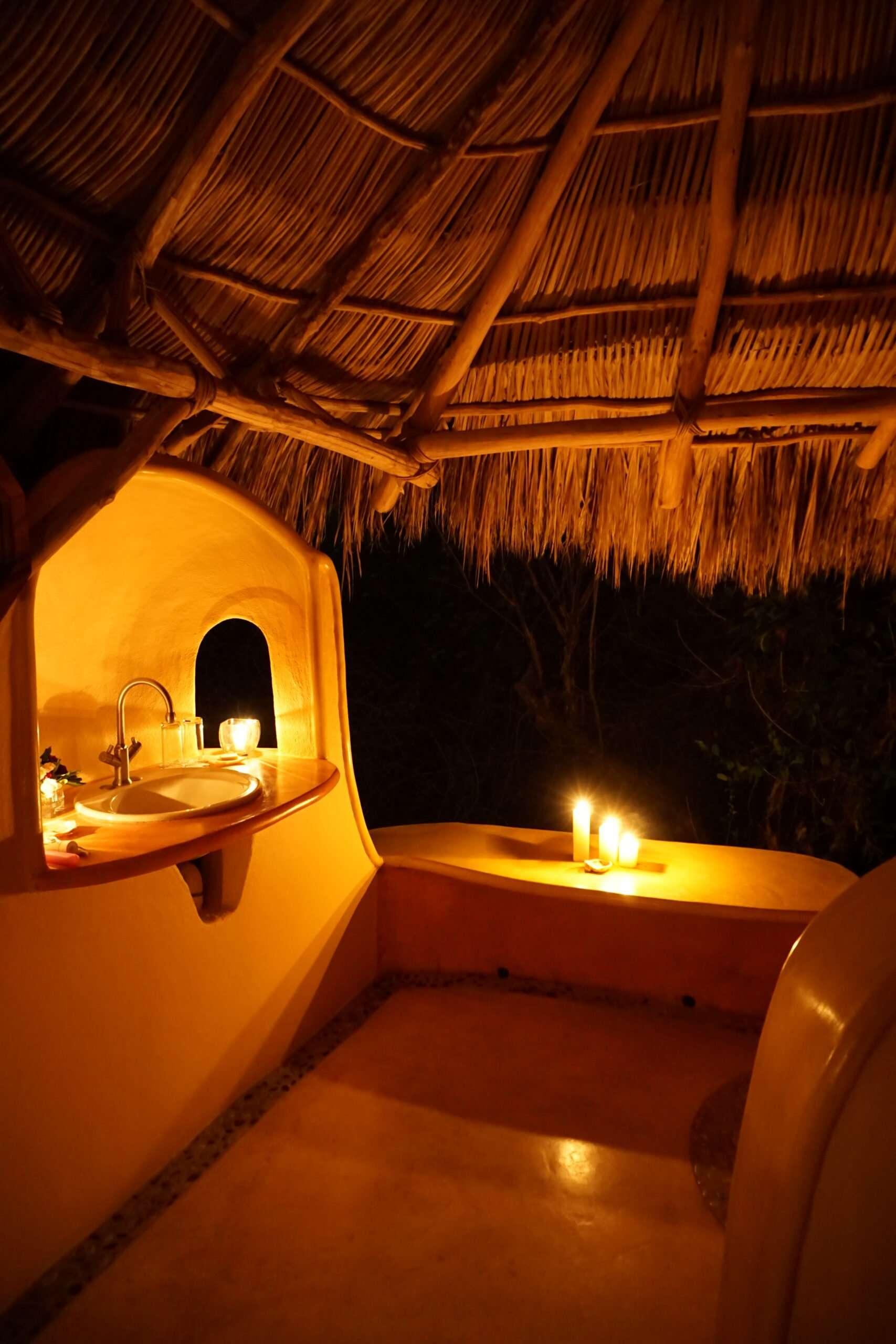 haramara retreat casita bathroom in candlelight