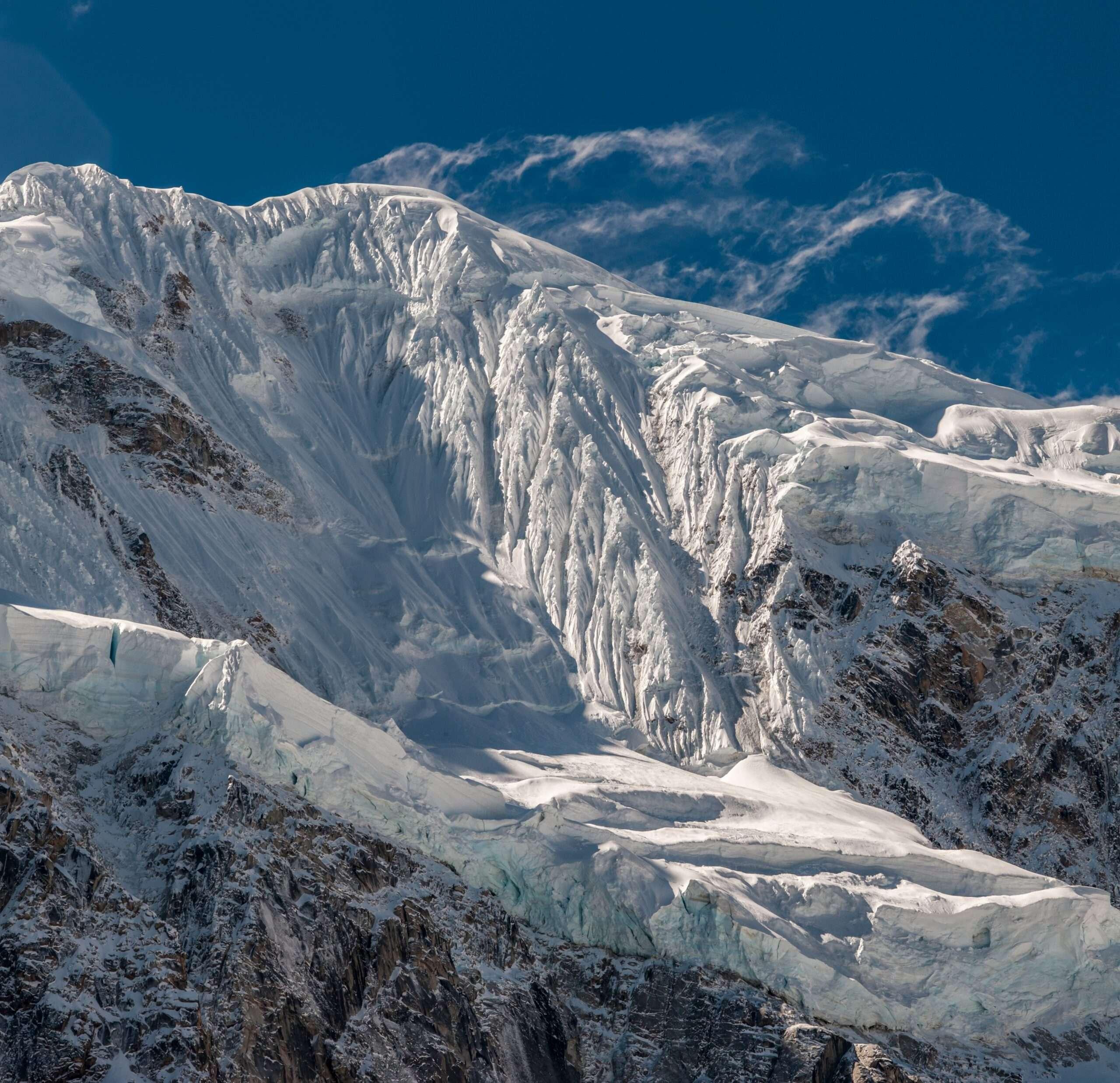 snow covered mountains along the Salkantay Trek
