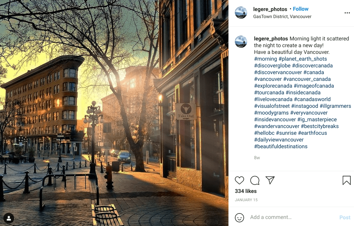 Morning light shines through Gastown in Vancouver