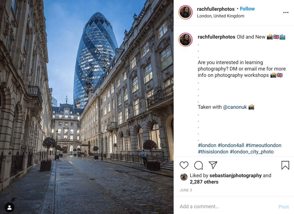 The beautiful Gherkin building in London. One of the most instagrammable places in London.