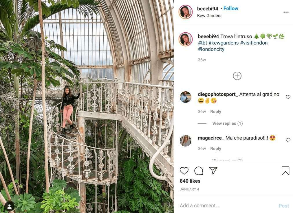 Greenhouse Botanical gardens at Kew in London. One of the most instagrammable places in London