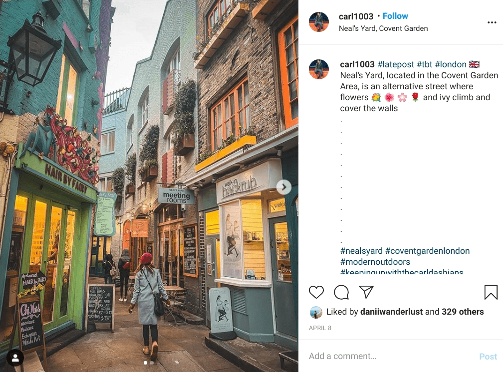 Colourful buildings and signs in the narrow alleyways of Neal's Yard in Covent Garden. One of the most instagrammable places in London