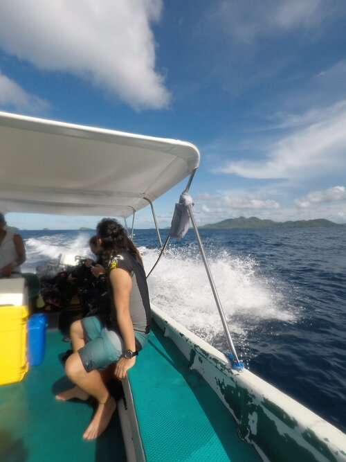 Scuba diving boat in the open waters of the Philippines