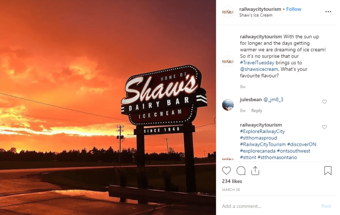 Shaw's Ice Crean at sunset in Ontario