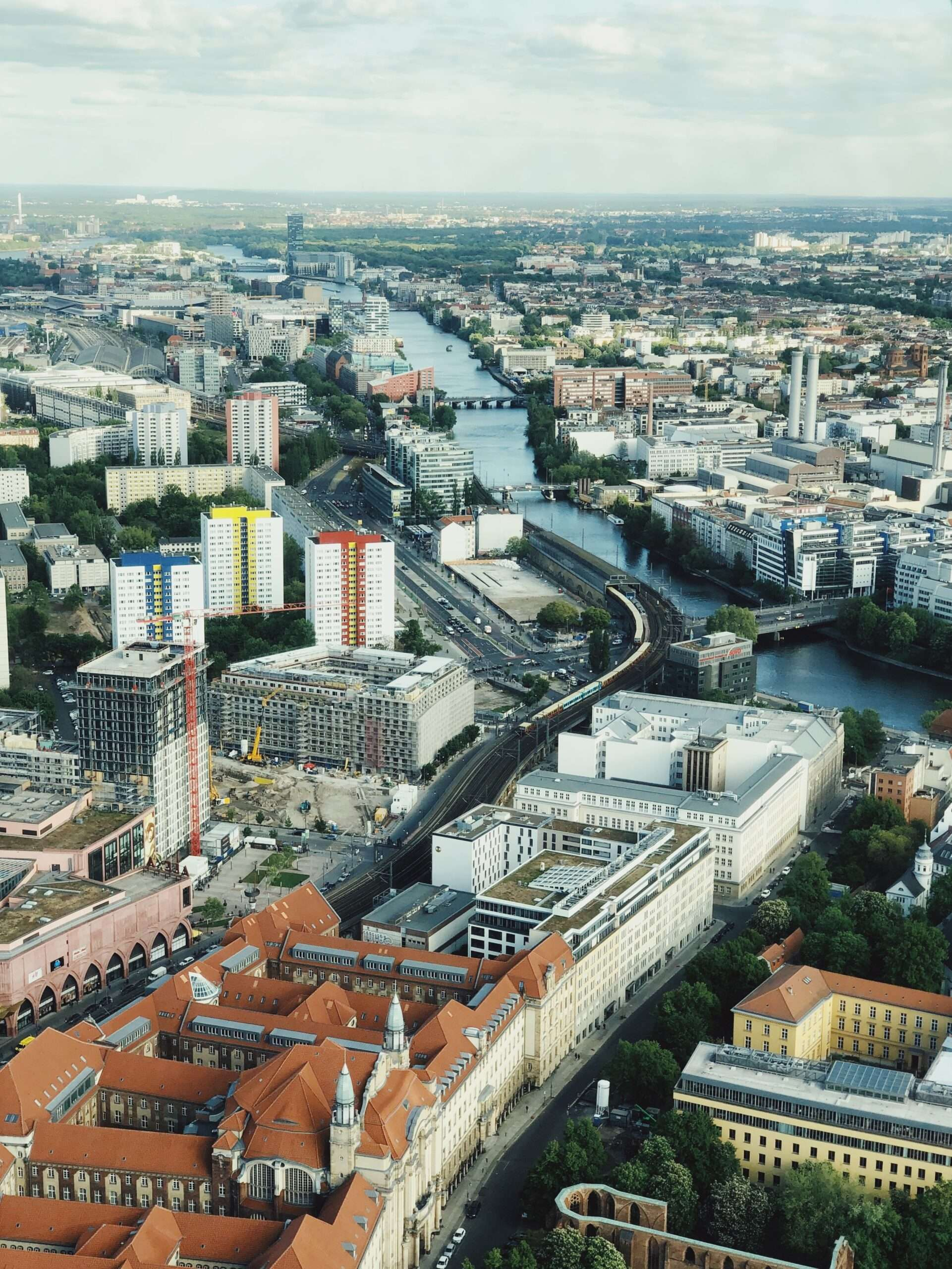 aerial view of Berlin city spanning both sides of the river
