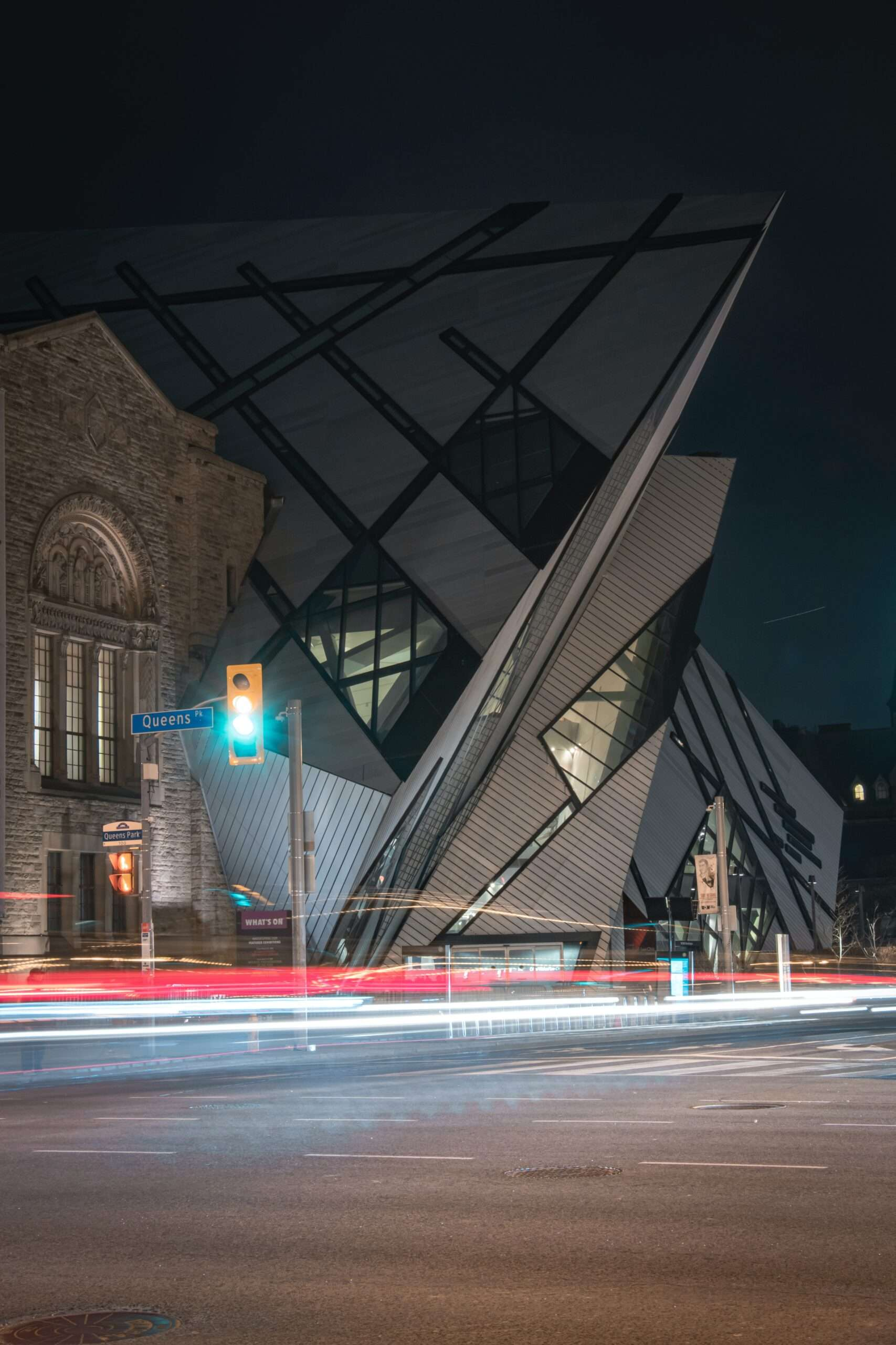 ROM building in Toronto at night
