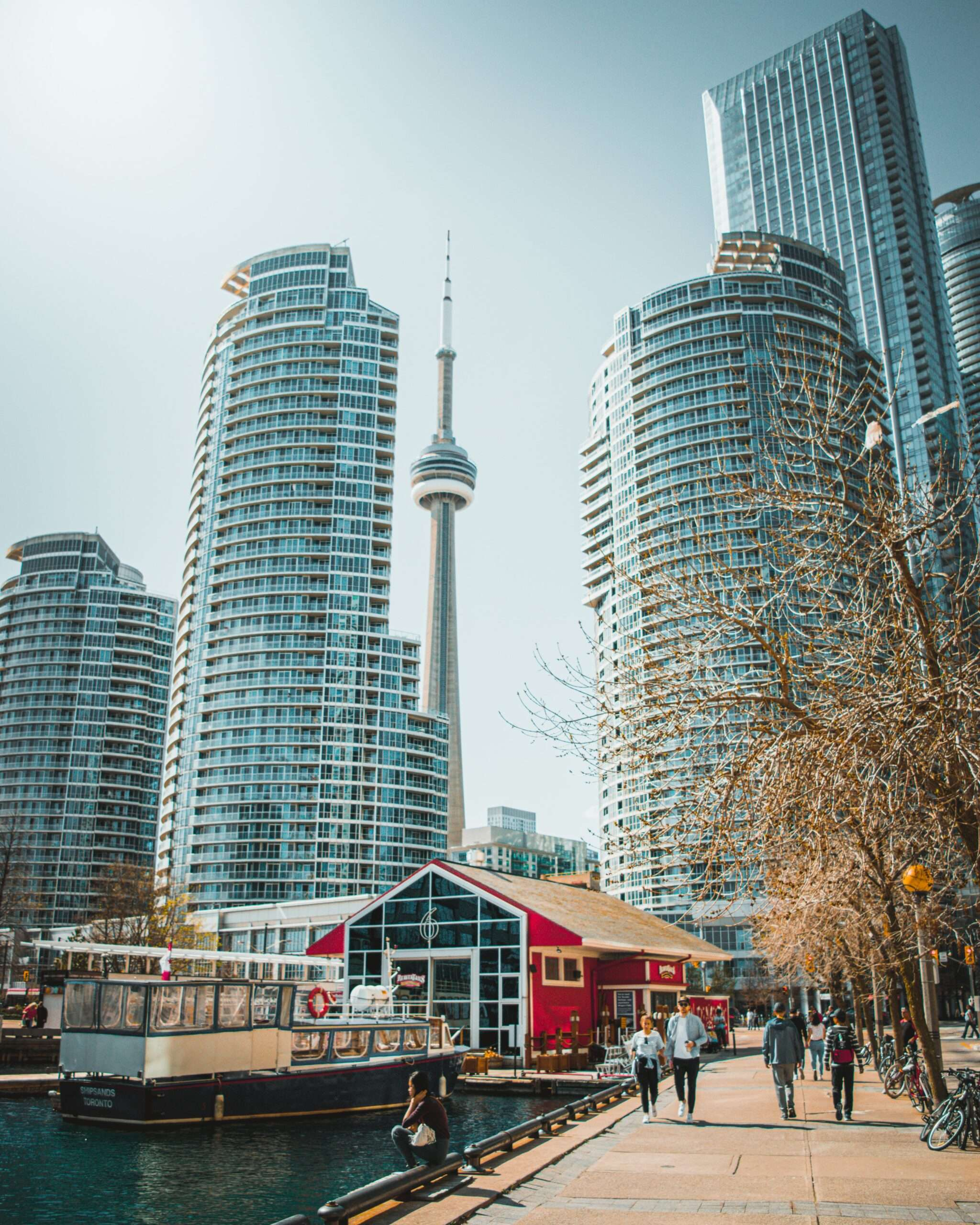 People walk along the Harbourfront, Toronto Canada