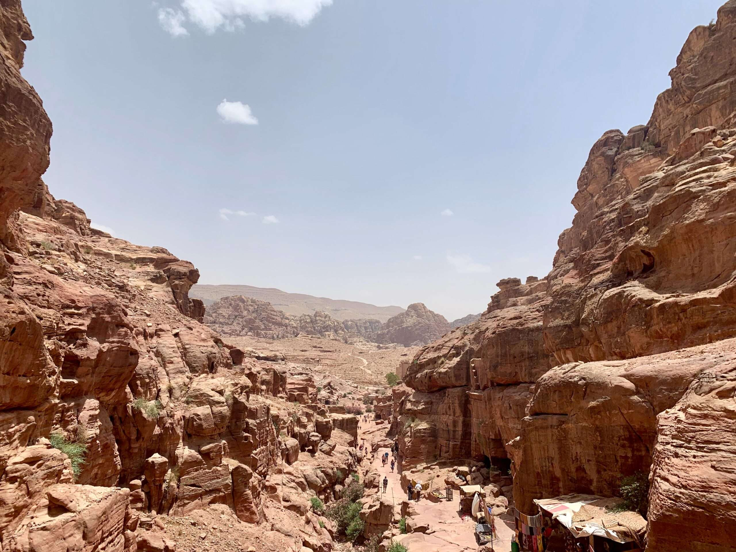narrow passage through high walls of orange rocks, as seen during travel to Petra