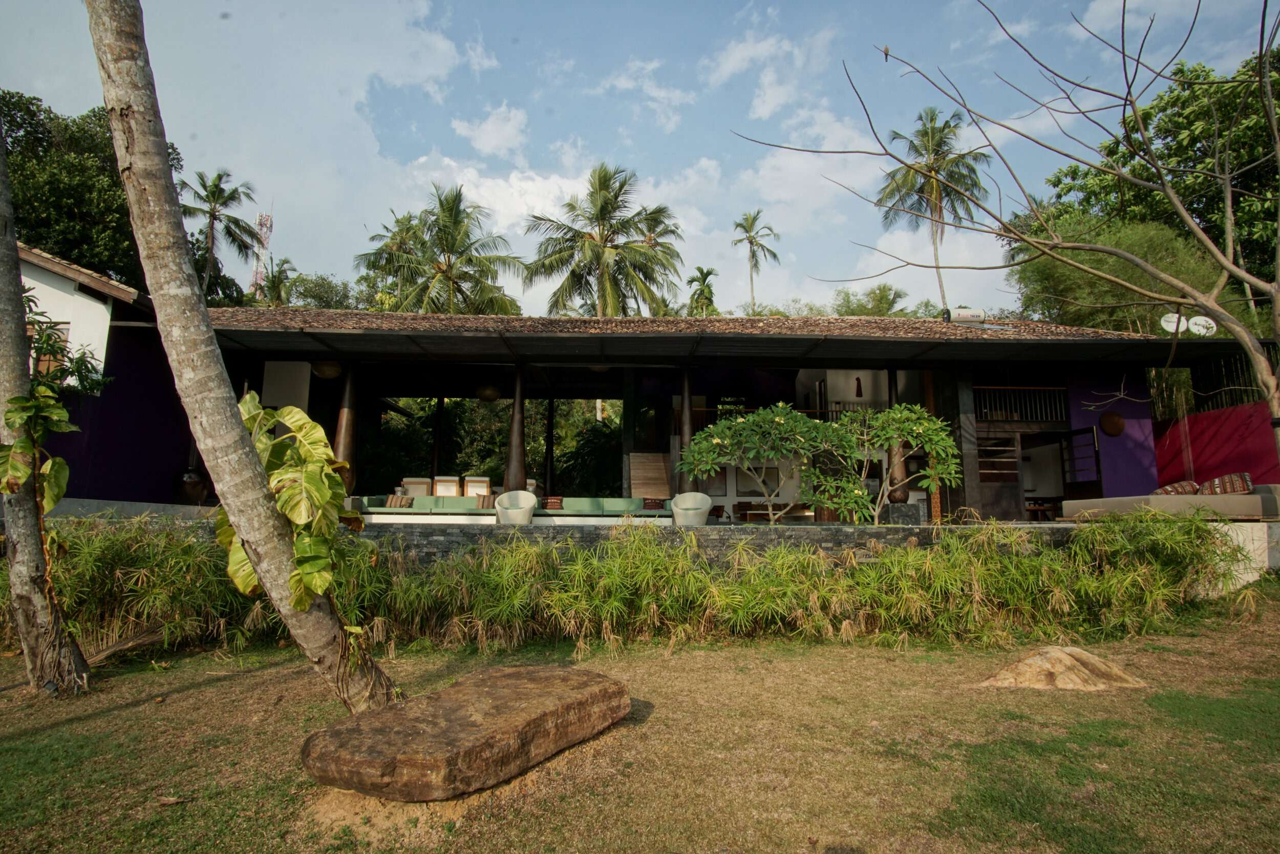 looking back towards Villa Wambatu, a villa surrounded by trees and plants
