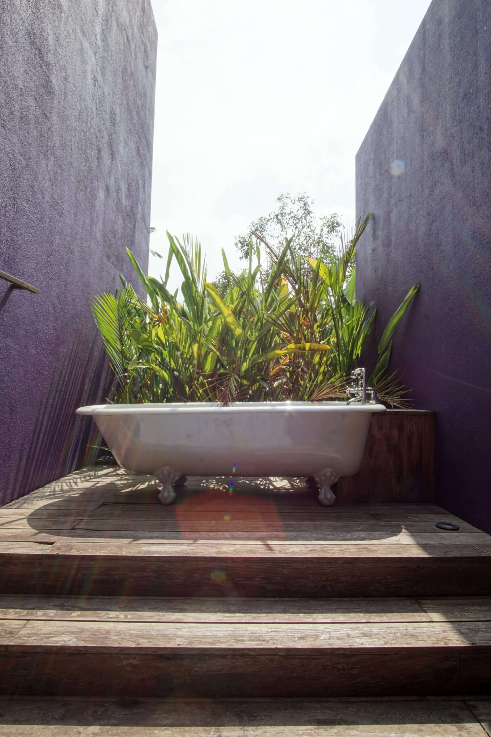 a white freestanding bathtub outside, surrounded by plants, with purple walls either side