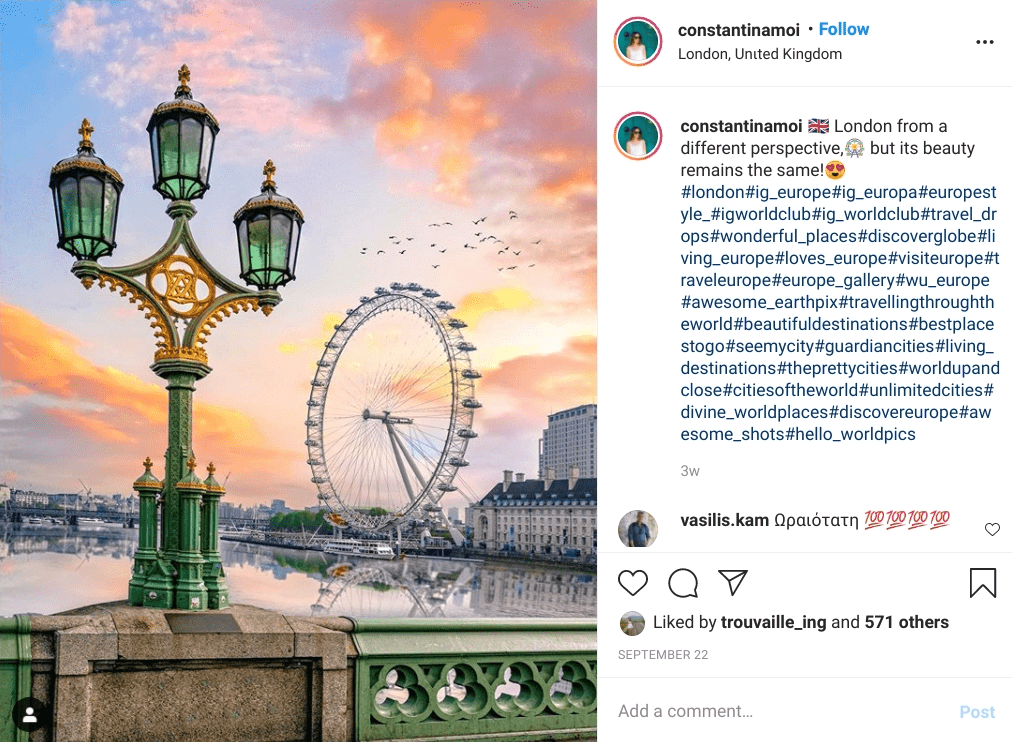 Westminster Bridge with the London Eye ferris wheel in the background
